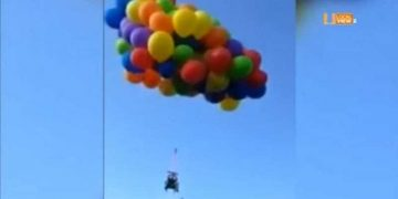Man arrested for letting blow-up his mother in law in a wheelchair attached to helium balloons